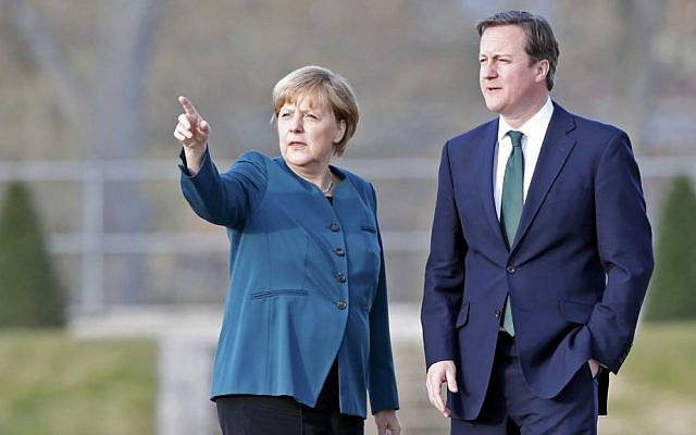 German Chancellor Angela Merkel and Britain's Prime Minister David Cameronin Germany on April 12, 2013. (photo credit: AP/Pool/Fabrizio Bensch)