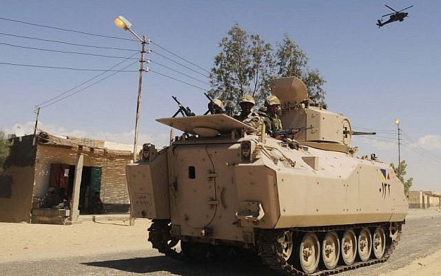 Illustrative: Egyptian soldiers in an armored vehicle in the northern Sinai, May 2013. (AP)