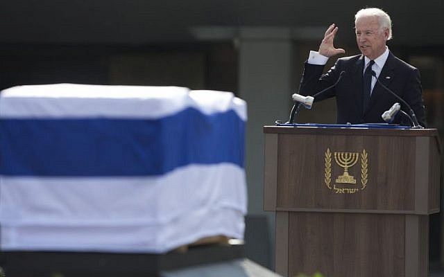 US Vice President Joe Biden delivers a speech next to the coffin of Ariel Sharon outside the Knesset in Jerusalem, Monday, January 13, 2014 (photo credit: AP/Sebastian Scheiner)