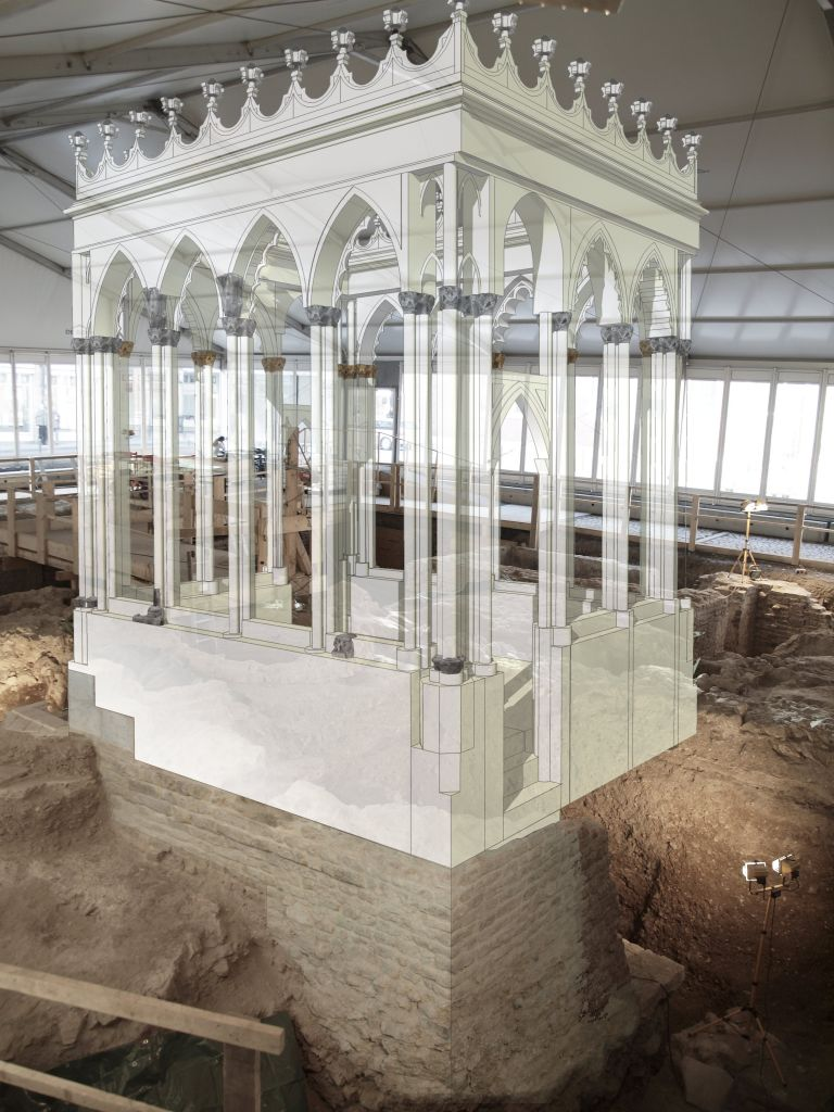 A reconstruction of the bimah in Cologne's medieval synagogue. (photo credit: Cologne Municipality, Archeological Zone: Ertan Özcan)