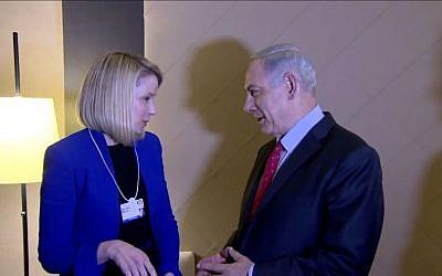 Prime Minister Benjamin Netanyahu and Yahoo CEO Marissa Mayer meet in Davos, Switzerland, Thursday, January 23, 2014 (screen capture: YouTube)