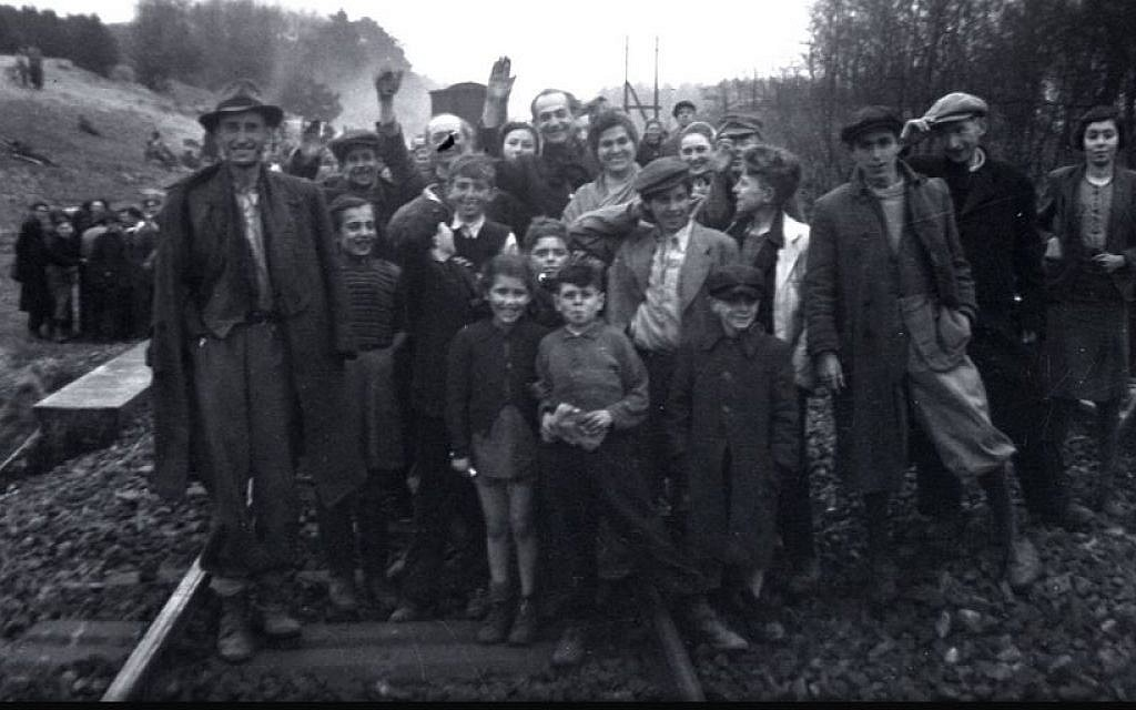 The former inmates who were transported by train from Bergen-Belsen were photographed in Farsleben, Germany, shortly after their liberation by US troops on Apr. 13, 1945. (United States Holocaust Memorial Museum, courtesy of George Gross)