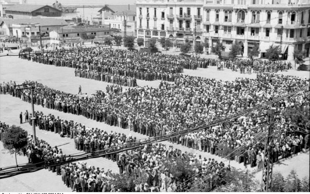Jews in Salonika registering at Libery Square in July 1942. (Bundesarchiv)