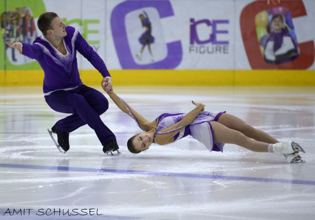 Andrea Davidovitch and Evgeny Krasnapolsky, Israel's top figure skating pair (Photo credit: Amit Schussel/ courtesy Olympic Committee of Israel)