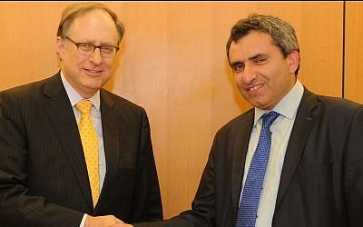 Deputy Foreign Minister Ze'ev Elkin (right) meets with Deputy Secretary-General of NATO Alexander Vershbow, in Israel, Jan 16, 2014. (photo credit: Noa Arad/Foreign Ministry)
