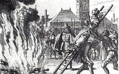 A 16th-century engraving of an execution by fire: The execution of Anne Hendricks, burned in Amsterdam in 1571 (credit: Jan Luyken, public domain)