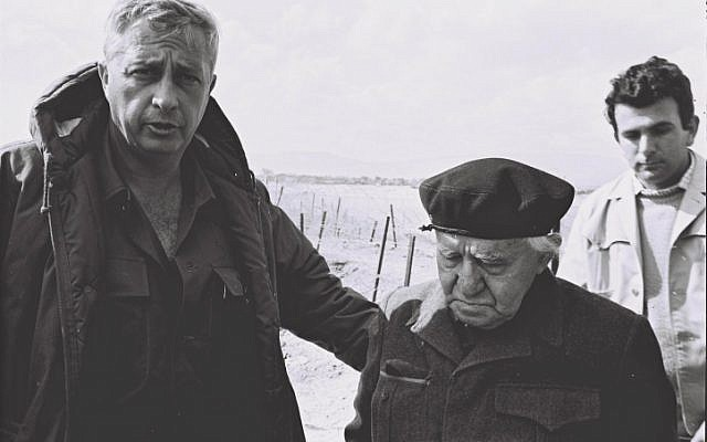 Sharon accompanying Israel's first prime minister, David Ben-Gurion, on a tour of the southern front (Photo credit: GPO/ Flash 90)