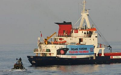 Illustrative: A Turkish ship with an IHH banner heading toward Gaza in 2010. (Moti Milrod/Pool/Flash90)