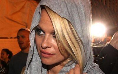 Pamela Anderson in Israel in November 2010 (photo credit: Kobi Gideon/Flash90)