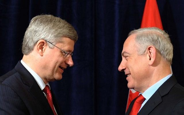 Prime Minister Benjamin Netanyahu (right) and Canadian PM Stephen Harper in 2014 (photo credit: Avi Ohayon/ GPO / Flash90)