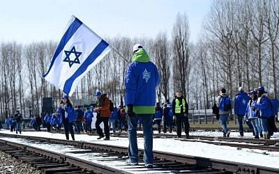 An Israeli delegation seen visiting the Auschwitz death camp in Poland, April 8, 2013. (Photo credit: Yossi Zeliger/FLASH90)