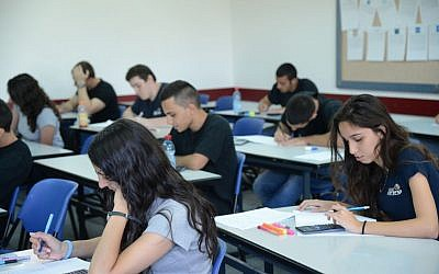 Students in Kiryat Sharet high school in Holon take their matriculation exams in mathematics, on May 21 2013. (illustrative photo credit: Yossi Zeliger/Flash90)