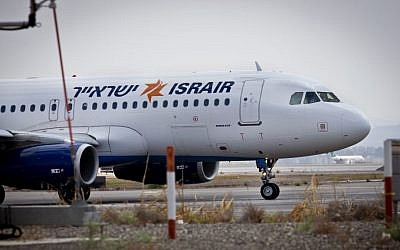 Illustrative photo of an Israir plane on the tarmac at Ben Gurion Airport, August 3, 2013 (Moshe Shai/Flash90)