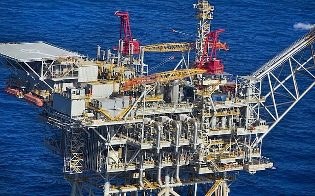 An aerial view of the Tamar gas-processing rig, off the coast of Ashkelon, Israel (Moshe Shai/Flash90)