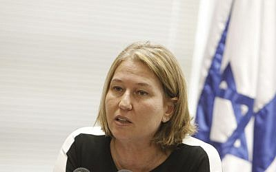 Leader of the Hatnua party and Minister of Justice Tzipi Livni leads a party meeting on December 30, 2013. (photo credit: Miriam Alster/Flash90)