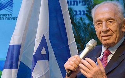 President Shimon Peres speaks at the Galilee Forum (Photo credit: Courtesy)