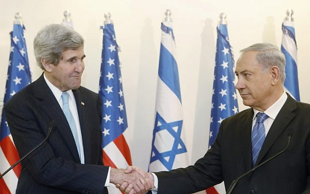 US Secretary of State John Kerry meets with Israeli Prime Minister Benjamin Netanyahu in Jerusalem on January 2, 2014. (photo credit: Miriam Alster/Flash90)