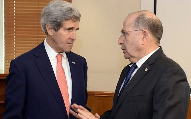 Minister of Defense Moshe Yaalon (R) meets with Secretary of State John Kerry in Jerusalem on January 3, 2014. (Photo credit: Matty Stern/US Embassy/Flash90)