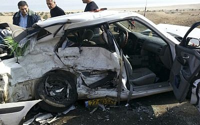Illustrative photo of the scene of a car accident at the Halido junction near the Dead Sea on January 5, 2013.  (Assaf Arbas/Firefighter Spokesperson/Flash90)