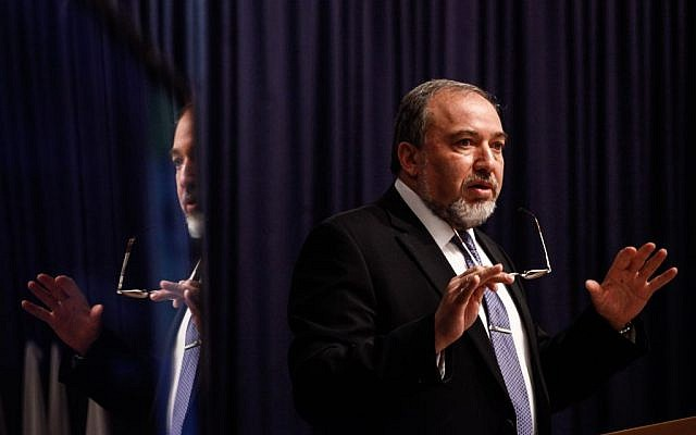 Foreign Minister Avigdor Liberman speaks to Israeli diplomats at a conference at the Foreign Ministry in Jerusalem, on January 5, 2014. (photo credit: Flash90)