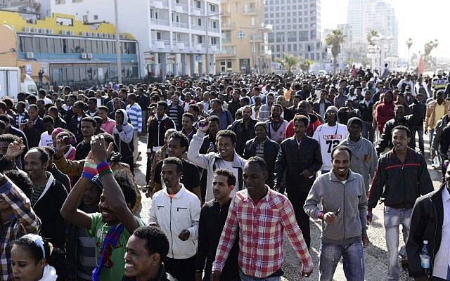 African asylum seekers protest outside the US Embassy in Tel Aviv on Monday. (photo credit: Tomer Neuberg/Flash90)