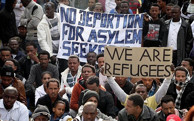 African migrants gather during a protest in Levinsky Park in Tel Aviv on January 07, 2014. (photo credit: Gideon Markowicz/Flash90)