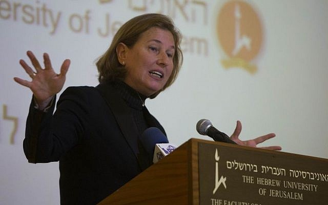 Justice Minister Tzipi Livni speaks in front of law students at the Hebrew University in Jerusalem, on Tuesday (photo credit: Yonatan Sindel/Flash90)