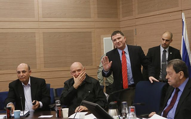 (L-R) MK Shaul Mofaz, IDF General (res.) Yitzhak Brick, Knesset Speaker Yuli Edelstein and MK Binyamin Ben Eliezer attend a Foreign Affairs and Defense committee meeting in the Knesset, Thursday, January 9, 2014 (photo credit: Miriam Alster/Flash90)