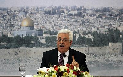 Palestinian Authority President Mahmoud Abbas speaks during a meeting at his compound in the West Bank city of Ramallah, Saturday, January 11, 2014 (photo credit: Flash90/Issam Rimawi)