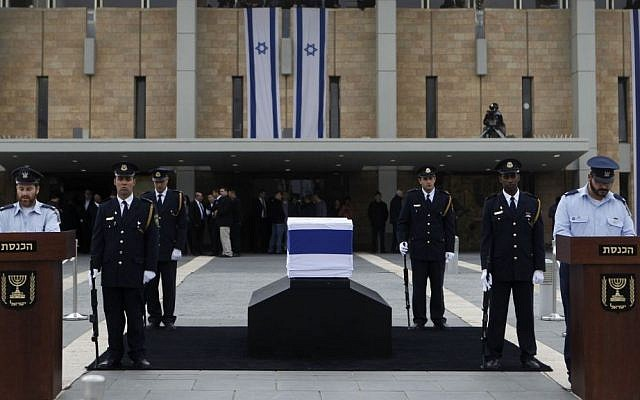 Ariel Sharon's casket outside the Knesset, Sunday, January 12, 2014 (photo credit: Miriam Alster/Flash90)