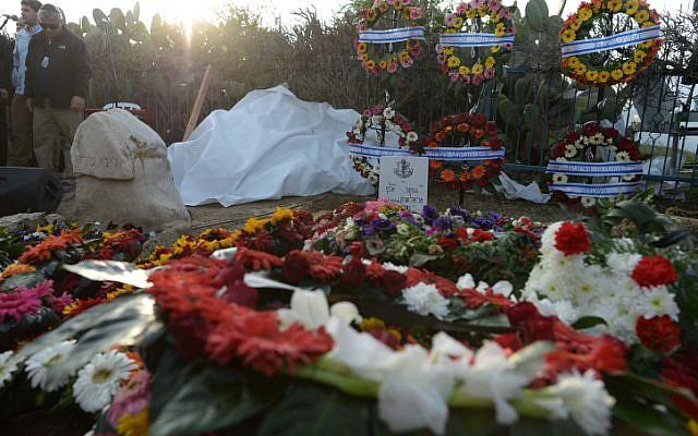 The wreaths alongside Sharon's fresh grave (Photo credit: Kobi Gideon/ GPO/ Flash 90)