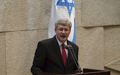 Canadian Prime Minister Stephen Harper addresses the Knesset, Monday, January 20, 2014. (Photo credit: Flash 90)