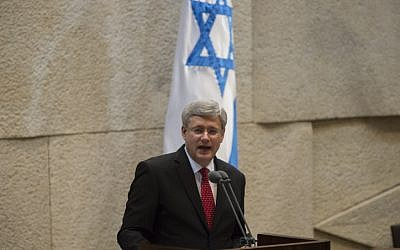 Canadian Prime Minister Stephen Harper addresses the Knesset on Monday (photo credit: Flash90)