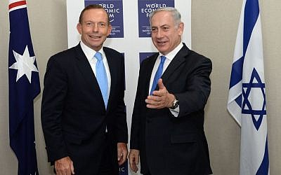 Prime Minister of Australia Tony Abbott (left) meets with Prime Minister Benjamin Netanyahu during the annual meeting of the World Economic Forum in Davos, January 23, 2014. (Kobi Gideon/GPO/Flash 90)