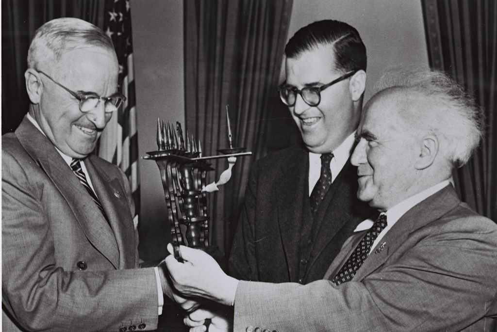Harry Truman receives a gift from Israeli Prime Minister and Israeli Ambassador to the US Abba Eban at the White House in 1951. (photo credit: Courtesy GPO)