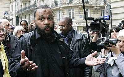 Anti-Semitic French comic Dieudonne M'Bala M'Bala, in 2009 (photo credit: AP/Remy de la Mauviniere)