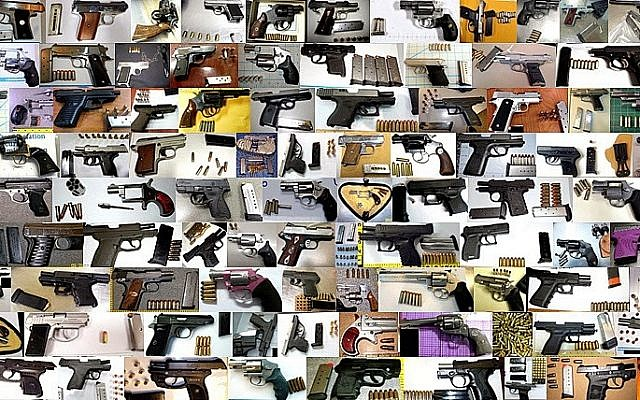 Some of the loaded firearms discovered in carry-on baggage in 2013 (Photo credit: TSA)