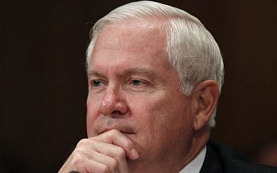 Then-secretary of defense Robert Gates testifies in June 2011 regarding the Department of Defense Fiscal Year 2012 budget request before the Senate Appropriations Committee Subcommittee on Defense on Capitol Hill in Washington. (photo credit: AP Photo/Charles Dharapak, File)