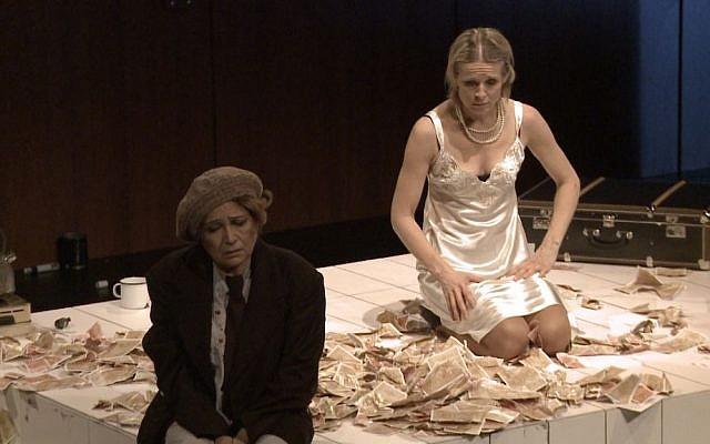 Ingrid Timkova plays Gisi Fleischmann and Emilia Vasaryova plays her mother in a play Natasha Dudinski filmed for her documentary, 'Gisi.' (Courtesy of Natasha Dudinski)
