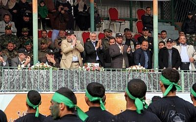 Hamas Prime Minister Ismail Haniyeh (center) attends the graduation ceremony in Gaza, January 13, 2014 (photo credit: Hamas interior ministry website)