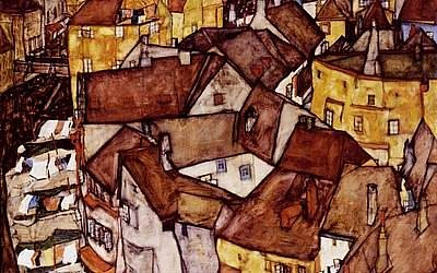 In this illustrative image, a 1915 townscape by Austrian painter Egon Schiele was well published and often loaned but with no known owners, suggesting, said former Israel Museum director James Snyder, a whole second narrative to the painting itself (Courtesy Israel Museum)