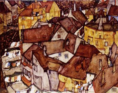 This 1915 townscape by Austrian painter Egon Schiele was well published and often loaned but with no known owners, suggesting, said Snyder, a whole second narrative to the painting itself (Courtesy Israel Museum)