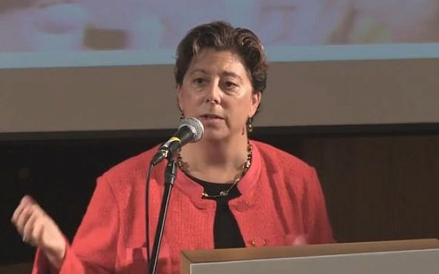 Jennifer Gorovitz, Vice President of Finance of the New Israel Fund and former CEO of the Jewish Community Federation of San Francisco (YouTube screenshot)