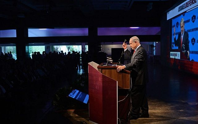 Prime Minister Benjamin Netanyahu addresses a conference in Tel Aviv, Monday, January 27, 2014 (photo credit: Kobi Gideon/GPO/Flash90)