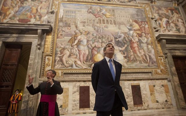 US Secretary of State John Kerry looks up toward the artwork during a tour of a section of the Vatican with Chief of Protocol Monsignor Jose Avelino Bettencourt, Tuesday, Jan. 14, 2014 (photo credit: AP/Pablo Martinez Monsivais, Pool)