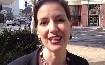 Councilman Libby Schaaf's posters were defaced with anti-Semitic graffiti this week. (photo credit: YouTube screenshot)