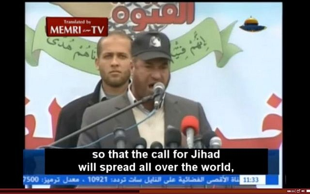 Hamas Interior Minister Fathi Hammad speaks to graduates of the organization's youth camps in Gaza, calling on them to annihilate Israel and take their struggle across the world, in January 2014. (screen capture: MEMRI)
