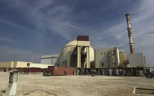 The reactor building of the Bushehr nuclear power plant is seen just outside the southern city of Bushehr, Iran (photo credit: AP/Mehr News Agency/Majid Asgaripour/File)