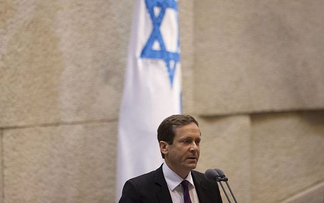 Opposition head and Labor leader MK Isaac Herzog speaks at the Knesset, January 20, 2014. (photo credit: AP Photo/Ariel Schalit)