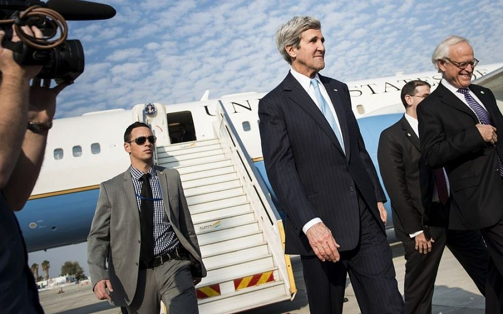Illustrative photo of US Secretary of State John Kerry at Ben Gurion airport on Thursday, January 2, 2014. (photo credit: AP Photo/Brendan Smialowski, Pool)